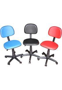 Cadeira Secretária Giratória Cs-02 Em Couro Ecológico Vermelho Ce021 Pethiflex