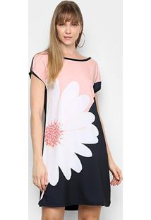 Vestido Curto Mercatto Floral Feminino - Feminino-Preto