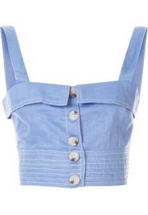 Suboo Blusa Cropped Com Botões - Azul