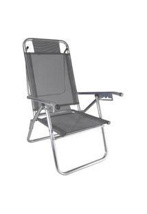 Cadeira Praia Reclinável Zaka Infinita Up Alumínio Até 120 Kg Cinza
