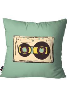 Capa De Almofada Pump Up Avulsa Música Verde Fita Cassete 45X45Cm
