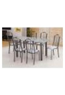 Conjunto De Mesa Luana Com 6 Cadeiras Craqueado Preto Linho