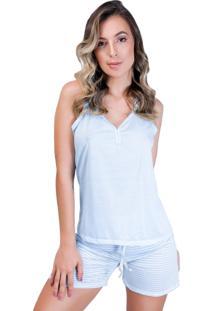 Pijama Mvb Modas Adulto Blusa E Short Com Laço Azul