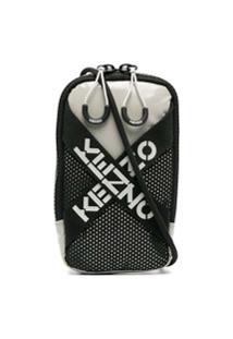 Kenzo Logo-Tape Detail Crossbody Bag - Cinza