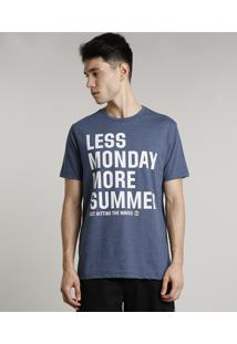 "Camiseta Masculina ""Less Monday More Summer"" Manga Curta Gola Careca Azul"