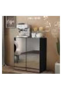 Aparador Cantinho Do Café Com Espelho 2 Portas Multimóveis Preto