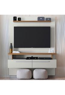 Painel Para Tv Até 60 Polegadas Cajú Off White E Nogueira