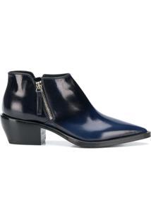 Premiata Ankle Boot De Couro Degradê - Azul