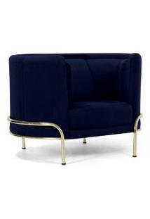 Poltrona Decorativa Base De Aço D'Ouro Luminne Veludo Azul Marinho B-287 - Lyam Decor