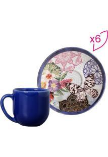 Jogo De Xícara De Café Colore- Azul Marinho & Off White