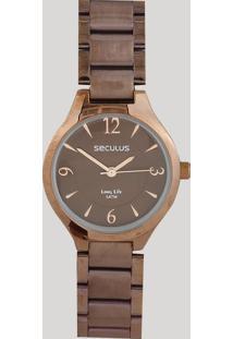 Relógio Analógico Seculus Feminino - 77042Lpsvma2 Marrom - Único