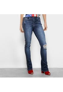 7eb35219c ... Calça Jeans Flare Carmim Valparaiso Estonada Cintura Média Feminina -  Feminino-Azul Escuro