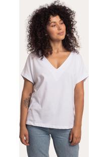 Camiseta Decote V Barra Manga Algodão Sustentável Branca Branco