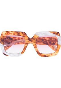 Gucci Eyewear Óculos De Sol Oversized Com Aplicações - Marrom