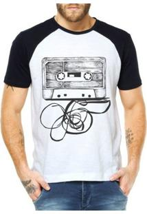 Camiseta Raglan Criativa Urbana Fita Cassete K7 - Masculino-Branco