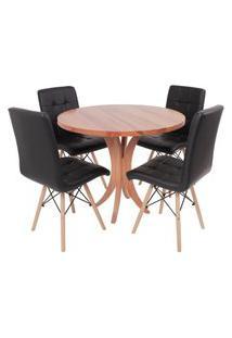 Conjunto Mesa De Jantar Tampo De Madeira 90Cm Com 4 Cadeiras Gomos - Preto