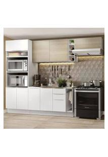 Cozinha Completa Madesa Stella 290002 Com Armário E Balcão Branco/Saara Cor:Branco/Branco/Saara