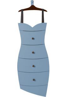 Cômoda Suspensa 4 Gavetas Dress 1081 Cacau/Azul Serenata - Maxima