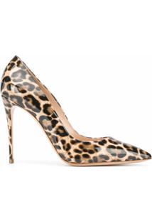 Casadei Sapato De Couro Com Estampa De Leopardo - Marrom