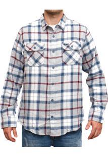 Camisa Blanks Co Flanela Xadrez Masculina - Masculino-Cinza+Marinho