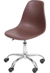 Cadeira Eames Dkr Rodizio- Cafã© & Prateada- 93X47X41Or Design