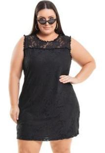 Vestido Miss Masy Plus Size Meia Malha Em Renda - Feminino-Preto