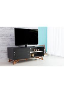 Rack Para Tv Preto Moderno Vintage Retrô Com Porta De Correr Preta Freddie - 120X43,6X48,5 Cm