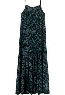 Vestido Azul Longo Gatinhos