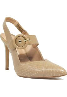 Scarpin Zariff Shoes Salto Fino Fivela Feminino - Feminino-Nude