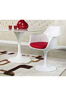 Cadeira Saarinen Abs (Com Braços) Branca Com Almofada Vermelha