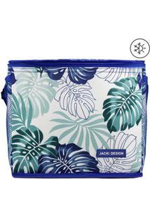 Bolsa Térmica Folhas- Branca & Azul- 24X21X27Cm-Jacki Design