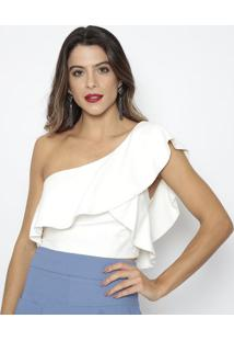 Blusa Cropped Ombro Único - Off White - Aboutabout