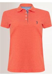 Camisa Polo Aleatory Feminina Piquet Lycra - Feminino-Laranja