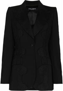 Dolce & Gabbana Blazer Com Abotoamento Simples E Aplicação De Renda - Preto