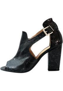 Ankle Boot Mahasa Python Salto Grosso - Feminino-Preto