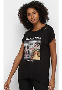 Camiseta Coca Cola Selfie Time Feminina - Feminino-Preto