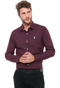 Camisa Mr Kitsch Reta Texturizada Bordô