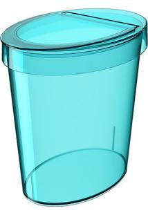 Lixeira Oval Glass- Azul- 26X24,5X18,3Cm- 5Lcoza