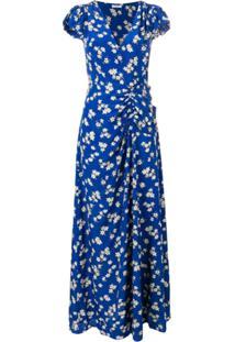 P.A.R.O.S.H. Vestido Longo Com Estampa Floral - Azul