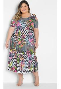 Vestido Midi Floral Com Babado Plus Size