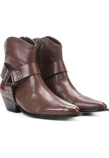 Bota Country Shoestock Western Ferragem Feminina - Feminino-Café