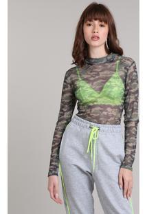 Blusa Feminina Estampada Camuflada Em Tule Manga Longa Gola Alta Verde Militar