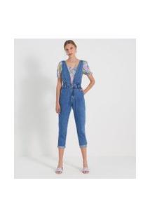 Macacão Mom Jeans Liso Com Decote V E Pregas | Blue Steel | Azul | 38