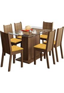 Conjunto De Mesa Com 6 Cadeiras Gales Rustic E Palha