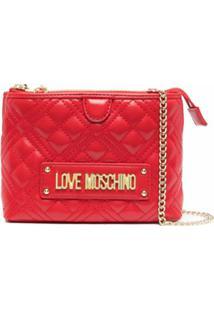 Love Moschino Bolsa Transversal Com Zíper E Estampa De Logo - Vermelho