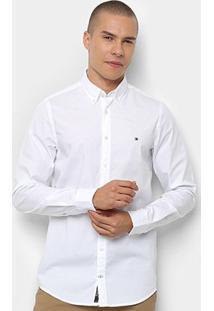 Camisa Manga Longa Tommy Hilfiger Masculina - Masculino-Branco