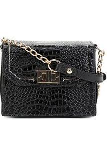 Bolsa Couro Jorge Bischoff Mini Bag Croco Feminina - Feminino-Preto
