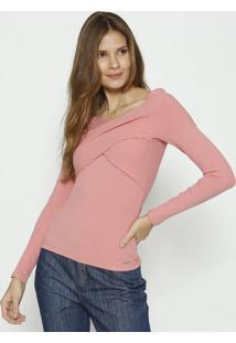 Blusa Canelada Com Transpasse- Rosa Claro- Colccicolcci