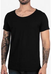Camiseta Preta Gola Canoa 102709