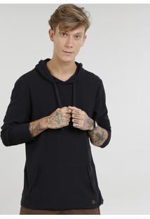 Camiseta Masculina Com Bolso E Capuz Manga Longa Preta